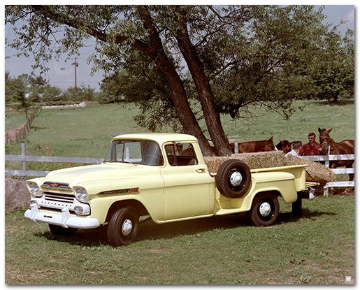 Chevrolet 1959 Apache 36 Stepside Pickup Truck Art Poster-ChevyMall