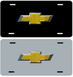 Chevrolet Bowtie Stainless Steel License Plate-ChevyMall