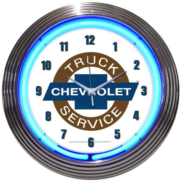 Chevrolet Truck Service Neon Clock-ChevyMall