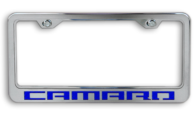 Camaro Blue Logo Chrome License Plate Frame-ChevyMall