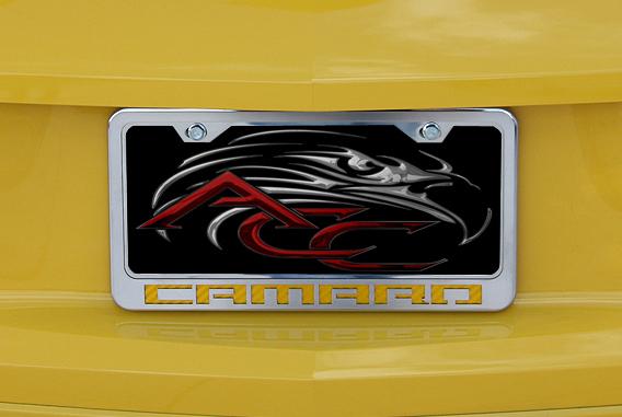 Camaro Yellow Logo Chrome License Plate Frame-ChevyMall