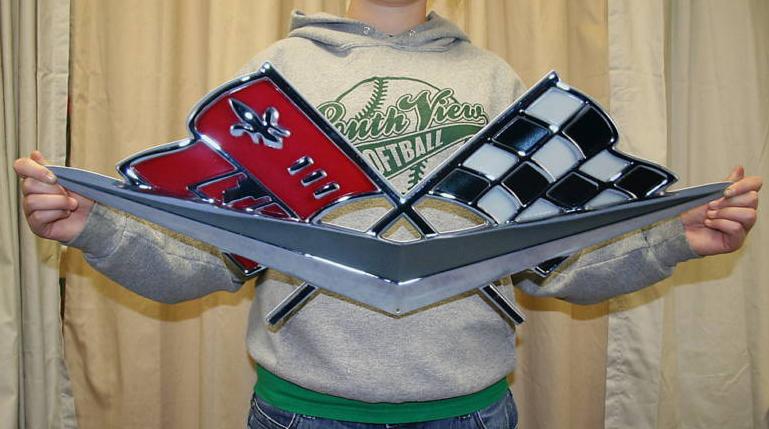 Cross Flags Corvette Metal Sign-ChevyMall