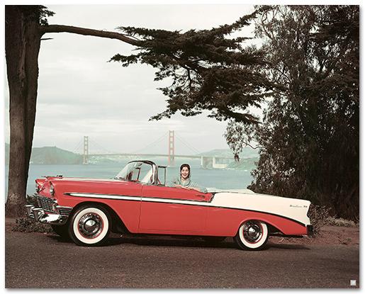 Chevrolet Bel Air 1956 Convertible Art Poster-ChevyMall
