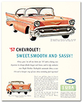 Chevrolet 1957 Bel Air Sport Sedan Ad Art Poster