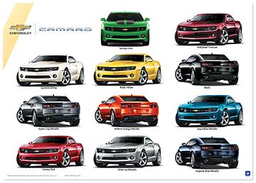 Camaro Exterior Colors Art Poster-ChevyMall