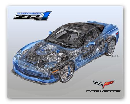 Zr1 Corvette Cut Away Poster Chevymall