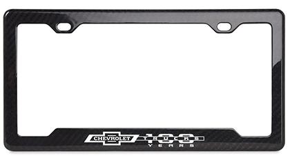 Chevy Corvette Stingray Gloss Black Carbon Fiber License Plate Frame with Black Cap