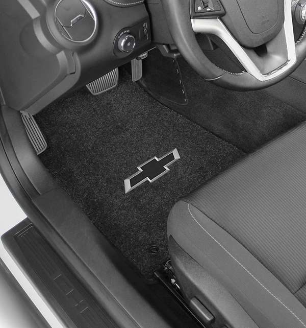2016 2017 Camaro Six Black Bowtie Velourtex Floor Mats