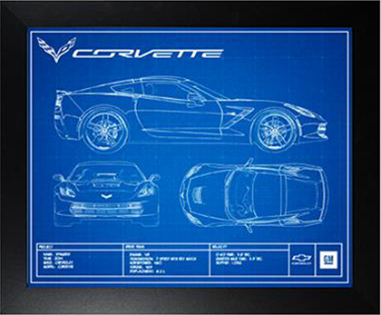 C7 Corvette Blueprint Framed Print-ChevyMall