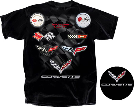 C1 - C7 Corvette Logos Black T-Shirt-ChevyMall