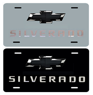Silverado Black Bowtie Stainless Steel License Plate Chevymall