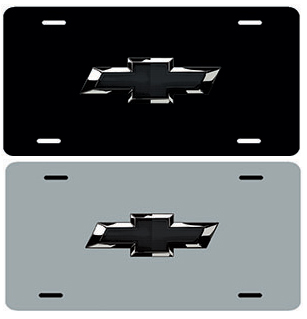 Chevrolet Black Bowtie Stainless Steel License Plate Chevymall
