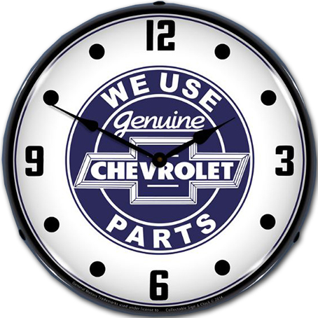 Chevrolet We Use Genuine Parts Blue Wall Clock Chevymall