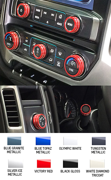 2014 2018 Silverado Interior Knob Kit Choose Your Color Chevymall