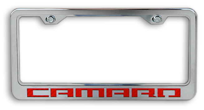 camaro red logo chrome license plate frame