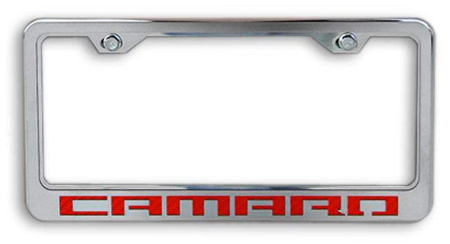 Camaro Red Logo Chrome License Plate Frame Chevymall