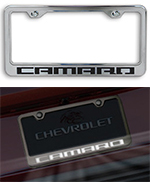 camaro logo chrome license plate frame choose inlay color illumination option