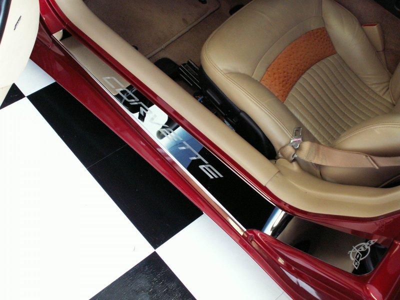 C5 corvette 1997 2004 polished door sill plates chevymall - C5 corvette interior door panels ...