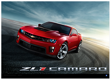 Camaro Zl1 Front View Art Poster Chevymall