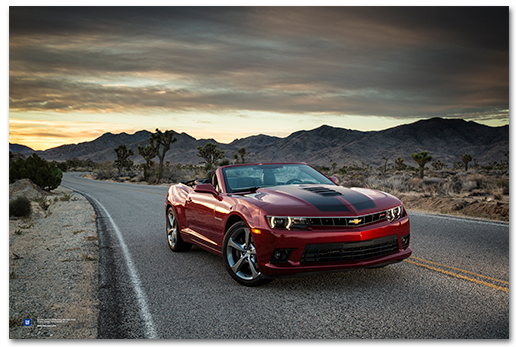 Camaro Ss Convertible Red Desert Art Poster Chevymall