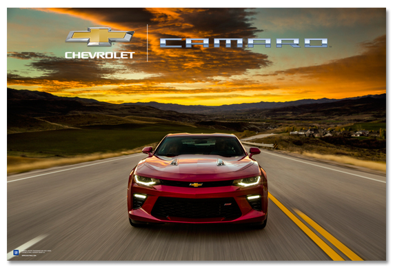 2016 Chevy Avalanche >> Camaro at Dusk Art Poster-ChevyMall