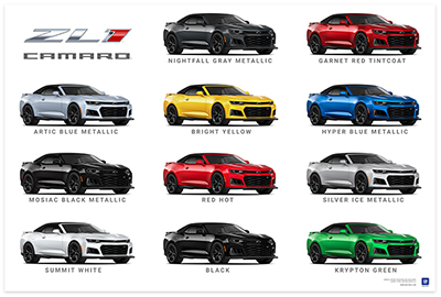 Camaro Six ZL1 Convertible Colors Art Poster-ChevyMall