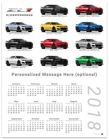 Camaro Zl1 Coupe Colors 2018 Wall Calendar Chevymall