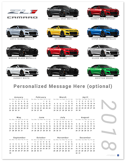 Camaro Zl1 Convertible Colors 2018 Wall Calendar Chevymall