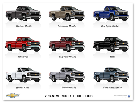 2014 silverado exterior colors art poster chevymall - Exterior house paint colors 2014 ...