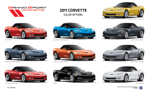 Grand Sport Corvette Exterior Colors Poster-ChevyMall