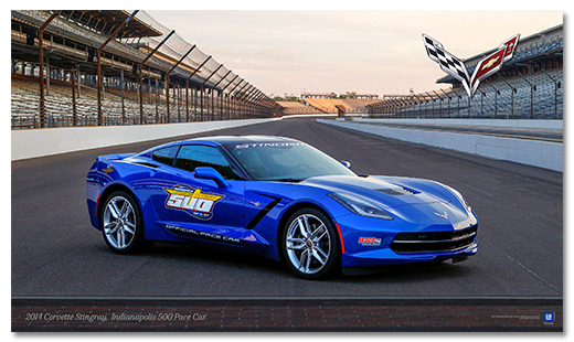 C7 Corvette Stingray Indy 500 Pace Car Art Poster-ChevyMall