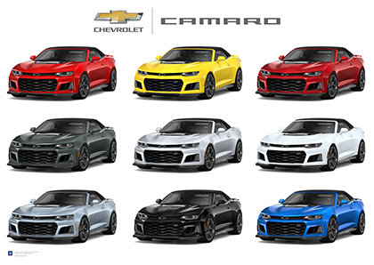 Camaro ZL1 Exterior Colors Art Poster-ChevyMall