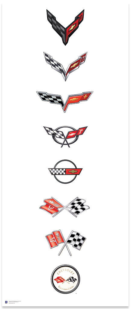 Corvette Logos Next Generation Art Poster-ChevyMall