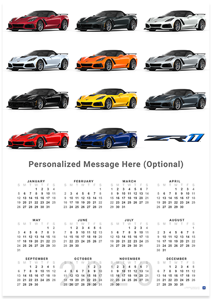 C7 Corvette Zr1 Exterior Colors 2020 Wall Calendar Chevymall