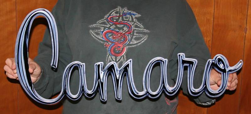 Classic Camaro Logo Metal Sign-ChevyMall