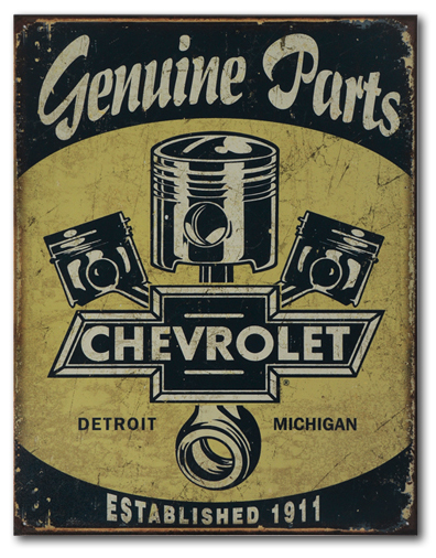 Vintage Automobile Signs : Chevrolet genuine parts tin sign chevymall