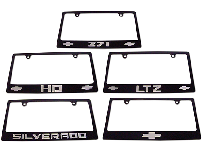 Silverado Black License Plate Frame Choose Engraving