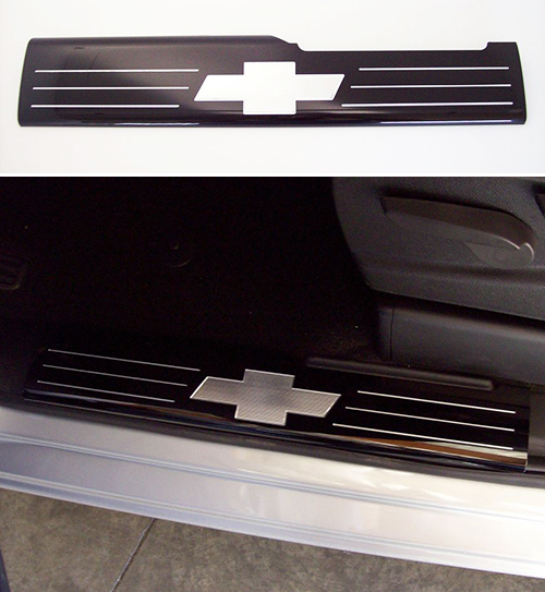 Threshold Plate Front Door: 2014 Tahoe FRONT Black Door Sill Plates-ChevyMall