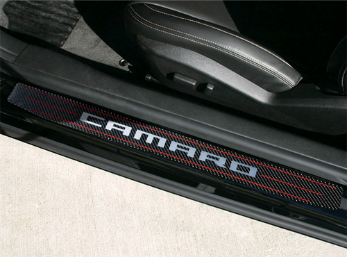 2010 2015 Camaro Script Carbon Fiber Door Sill Plates