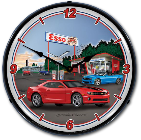 Camaro Esso Station Lighted Wall Clock - ChevyMall